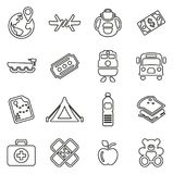 Refugees or Migrants Icons Thin Line Vector Illustration Set. This image is a vector illustration and can be scaled to any size without loss of resolution Royalty Free Stock Photos