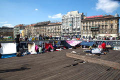 Refugees and Migrants stranded at the Keleti Trainstation in Bud Stock Photo