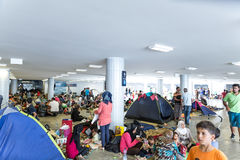 Refugees and Migrants stranded at the Keleti Trainstation in Bud Royalty Free Stock Image