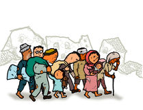 Refugees Migrate Homeless People. Illustration drawing of war victims refugees Stock Photo