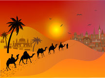 Refugees migrate to Europe.Caravan of camels in desert. Royalty Free Stock Images