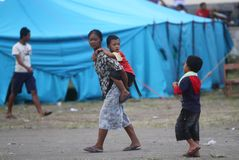 Refugees. Mount merapi eruption refugees at their camp in klaten, central java, indonesia Royalty Free Stock Images