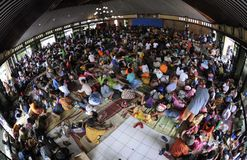 Refugees. Mount merapi eruption refugees at their camp in klaten, central java, indonesia Royalty Free Stock Image