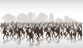 Refugees people. Silhouettes of refugees people searching new homes or life due to persecution. Vector illustration Royalty Free Stock Photos