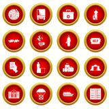 Refugees problem icon red circle set. Isolated on white background Royalty Free Stock Image
