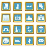 Refugees problem icons azure. Refugees problem icons set in azur color isolated vector illustration for web and any design Stock Photos