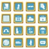 Refugees problem icons azure Stock Photos