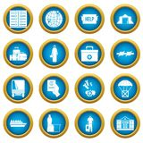 Refugees problem icons blue circle set. Isolated on white for digital marketing Royalty Free Stock Photo