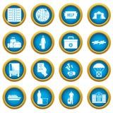 Refugees problem icons blue circle set Royalty Free Stock Photo