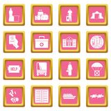 Refugees problem icons pink Stock Image