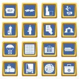 Refugees problem icons set blue Royalty Free Stock Photos