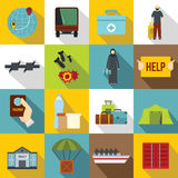 Refugees problem icons set, flat style Stock Photo