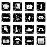 Refugees problem icons set. In grunge style isolated on white background vector illustration Royalty Free Stock Image