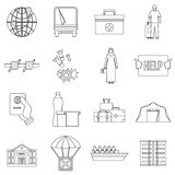 Refugees problem icons set, outline style Stock Photos