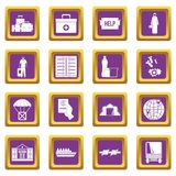 Refugees problem icons set purple Royalty Free Stock Photography