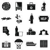 Refugees problem icons set, simple style Stock Images