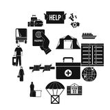 Refugees problem icons set, simple style. Refugees problem icons set. Simple illustration of 16 refugees problem vector icons for web Stock Photos
