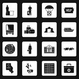 Refugees problem icons set squares vector Stock Images