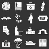 Refugees problem icons set grey vector. Refugees problem icons set vector white isolated on grey background Royalty Free Stock Photos