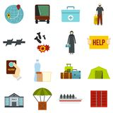 Refugees problem set flat icons Royalty Free Stock Photos