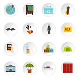 Refugees problem set flat icons Stock Photos