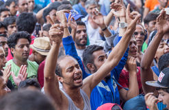 Refugees protest at Keleti train station. Refugees are protesting against hungarian politics regarding immigrants. Migrants from Syria are gathered at Keleti Stock Photography