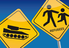 Refugees. A refugee is a person who has left their home country under threat of their life -  illustration Royalty Free Stock Photo