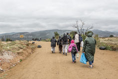 Refugees on the road to European Union Stock Photography