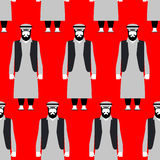 Refugees seamless pattern. Sad people on red background. Crowd o Royalty Free Stock Images