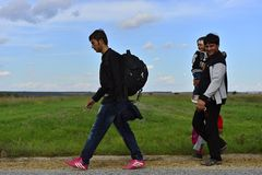 Refugees in Sid (Serbian - Croatina border) Royalty Free Stock Images