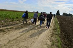 Refugees in Sid (Serbian - Croatina border) Stock Photo
