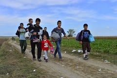 Refugees in Sid (Serbian - Croatina border) Royalty Free Stock Photo