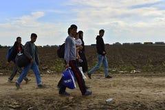 Refugees in Sid (Serbian - Croatina border) Royalty Free Stock Photos