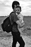 Refugees in Sid (Serbian - Croatina border) Stock Photo