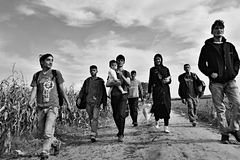 Refugees in Sid (Serbian - Croatina border). October 4, 2015; Sid in Serbia. Group of Afghan refugees leaving Serbia. They came to Sid by taxi and then they Royalty Free Stock Images