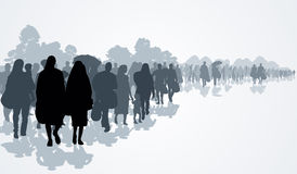 Refugees. Silhouettes of refugees people searching new homes or life due to persecution. Vector illustration Stock Photos