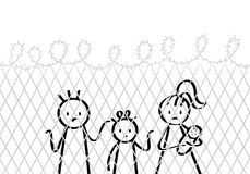 Refugees, stick figures family, mother with children, at the border, behind fence, in prison. Isolated on white background Stock Images