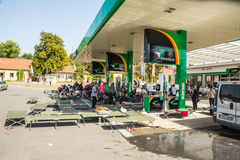 Refugees stranded at a Gas station in Beli Manastir in Croatia Stock Images