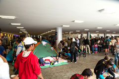 Refugees stranded in the underground section of the Keleti Train Royalty Free Stock Photo