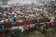 Refugees. Thousand of mount merapi eruption refugees at their camp in klaten, central java, indonesia Stock Photo