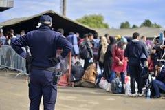 refugees in Tovarnik (Serbian - Croatina border) Royalty Free Stock Photos