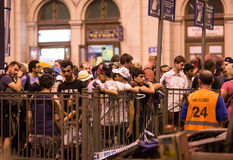 Refugees waiting to board at Keleti train station. Refugees and migrants, most of them from Syria, are gathered at Keleti train station in Hungary, Monday 31 Royalty Free Stock Image