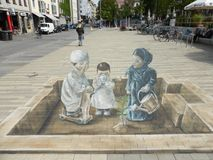 Refugees Welcome. 3D chalk street art Royalty Free Stock Photography