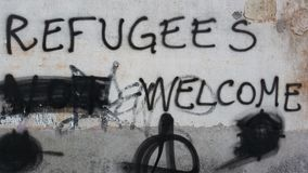 Refugees Welcome stock image