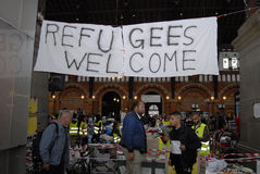 REFUGEES WELCOME HELP CENTRE. Copenhagen/Denmark/ 12th September   2015_ Refugees welcome assistance centre at Copenhagen Central Train Center here people donate Royalty Free Stock Photo
