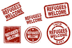 Refugees welcome ink stamps Stock Image