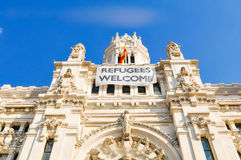 Refugees welcome in Madrid Stock Photography