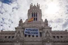 Refugees Welcome placard Stock Image