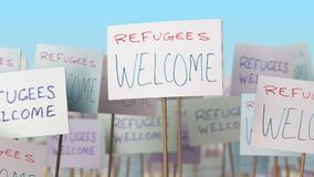 REFUGEES WELCOME placards at street demonstration. 3D rendering. Placards at street demonstration. 3D stock illustration