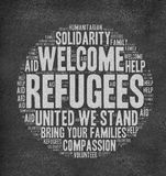 Refugees Welcome. Slogan written in chalk on blackboard and other related words in circle shape Royalty Free Stock Photography